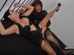 Hot TGirl Zoe gets her big juicy cock sucked by a horny short haired brunette