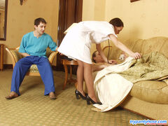 Breathtaking pantyhose treatment for well-hung dude in barely visible hose