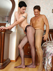 Insatiable guy in barely black hose awaking his friend with frantic legjob