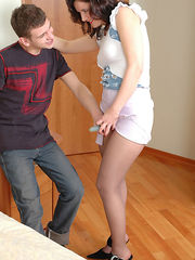 A date with strap-on armed gal ends with huge bonus up guy's pantyhosed ass