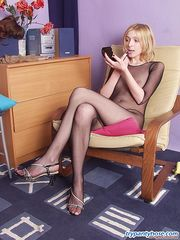 Lewd sissy guy in sheer tights lusting after seductive gal encased in nylon
