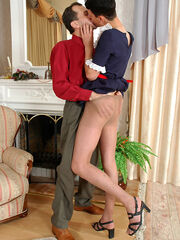 Sissy maid in smooth tights giving legjob before outrageous ass-pounding